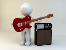guitarra de la demostración del hombre 3D Imagen de archivo libre de regalías