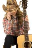 Guitarra de la extremidad del sombrero de la vaquera Imagenes de archivo