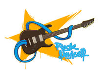 Guitarra de la roca de la diversión con la lengua Fotos de archivo