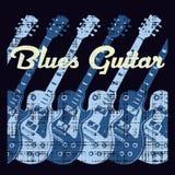 Guitarra de los azules Foto de archivo libre de regalías