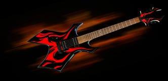 Guitarra de metales pesados del fuego Foto de archivo
