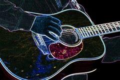 Guitarra de neón Foto de archivo
