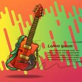 Guitarra del cartel en estilo y texto que bosquejan libre illustration