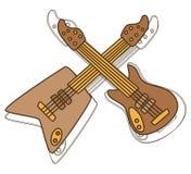 Guitarra del drenaje de la mano Foto de archivo