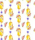 Guitarra del modelo inconsútil de la acuarela y flores amarillas de madera clásicas acústicas de tres rosas con las hojas aislada stock de ilustración