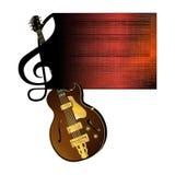 Guitarra do jazz da pauta musical da clave de sol Foto de Stock