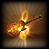 Guitarra do jazz em uma clave de sol borrada do fundo Fotografia de Stock Royalty Free