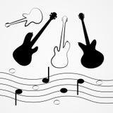 Guitarra do vetor, baixo, pessoal, notas Fotos de Stock Royalty Free