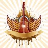 guitarra e asas Fotografia de Stock Royalty Free