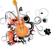 Guitarra e floral Fotos de Stock