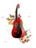 Guitarra e floral ilustração stock