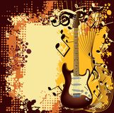 Guitarra e nota Fotos de Stock Royalty Free