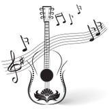 Guitarra e notas Imagens de Stock