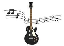 Guitarra eléctrica con las notas de la música Fotografía de archivo