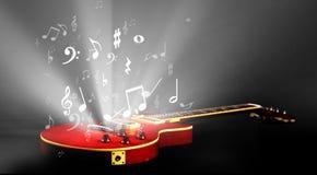 Guitarra eléctrica con música Imagenes de archivo