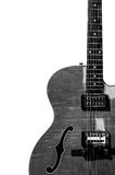 Guitarra eléctrica de la carrocería hueco en blanco y negro Imagen de archivo