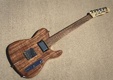 Guitarra eléctrica del koa de Alsip Tejas T del CR Imagen de archivo