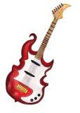 Guitarra eléctrica en un fondo blanco Imágenes de archivo libres de regalías