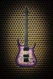Guitarra eléctrica hermosa en fondo del techno Imagen de archivo libre de regalías
