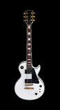 Guitarra eléctrica la forma clásica Les Paul en el fondo blanco Imagenes de archivo