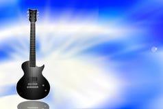 Guitarra eléctrica negra en fondo azul Imagen de archivo libre de regalías