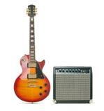 Guitarra eléctrica y amplificador Fotos de archivo libres de regalías