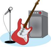 Guitarra eléctrica y equipo Imagen de archivo libre de regalías