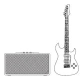 Guitarra elétrica azul Fotos de Stock Royalty Free