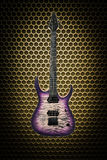Guitarra elétrica bonita no fundo do techno Imagem de Stock Royalty Free