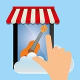 guitarra en línea app del smartphone de la música móvil Fotos de archivo libres de regalías