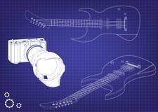 Guitarra en un azul Imágenes de archivo libres de regalías