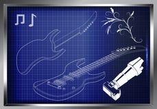 Guitarra en un azul Foto de archivo