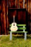 Guitarra en un extracto del banco de madera Imagen de archivo libre de regalías