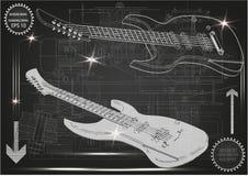 Guitarra en un negro Foto de archivo libre de regalías