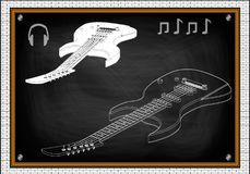 Guitarra en un negro Fotografía de archivo libre de regalías