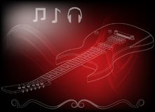 Guitarra en un rojo Fotos de archivo