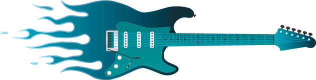 Guitarra flamejante Imagens de Stock