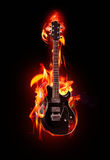 Guitarra flamejante Fotos de Stock Royalty Free