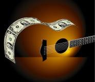 Guitarra hecha de cuentas de dólar Imagen de archivo libre de regalías