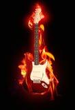 Guitarra llameante Imagen de archivo libre de regalías