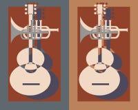 Guitarra mais a trombeta Fotos de Stock