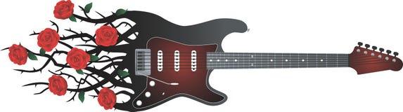 Guitarra negra con las rosas rojas Fotografía de archivo