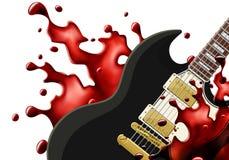 Guitarra preta do metal com um respingo do sangue isolado fotografia de stock royalty free