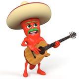 Guitarra que joga a pimenta de pimentão Foto de Stock