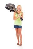 Guitarra que lleva del preadolescente Fotos de archivo libres de regalías