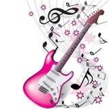 Guitarra rosada Foto de archivo libre de regalías