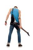 A guitarra suporta sobre de um homem imagens de stock