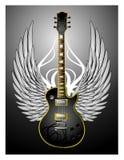 Guitarra tribal negra w/Wings Foto de archivo libre de regalías