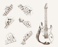 Guitarra y acordes Foto de archivo libre de regalías