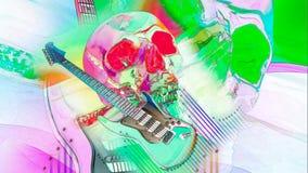 Guitarra y cráneo psicodélicos libre illustration